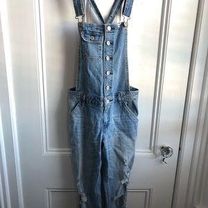Hollister light wash boyfriend overalls
